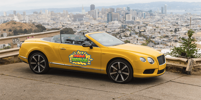 Yellow Bentley GT for Mega Moolah winner