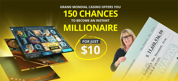 150 Spins on the Mega Moolah? Mon Dieu! It's a Grand Mondial offer!