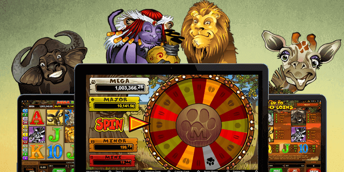 Mega Moolah slot symbols include the Lion, Monkey, Kudu, Zebra, Elephant and Giraffe